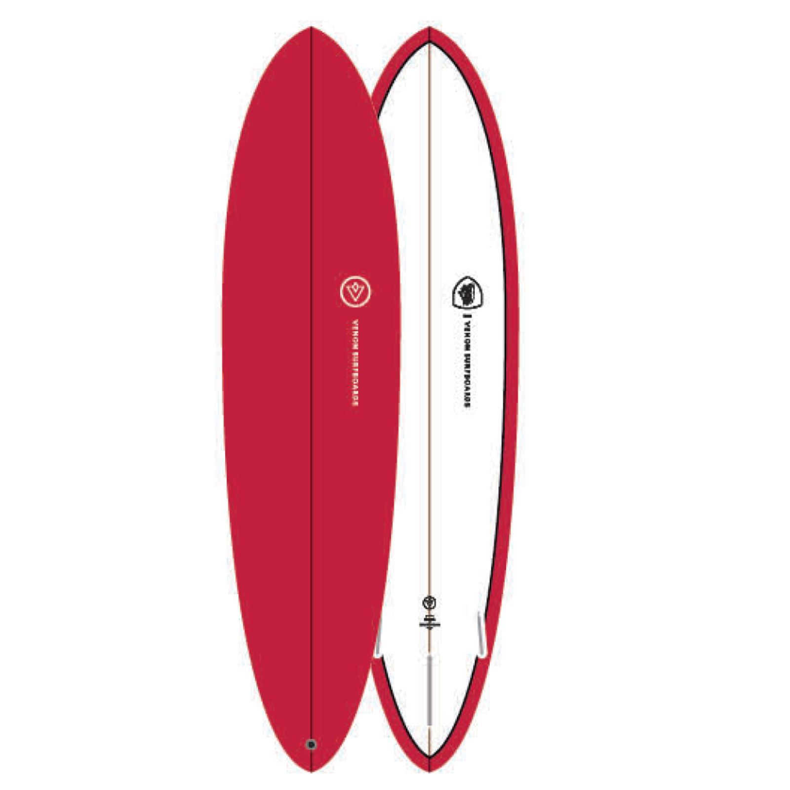 Surfboard VENON Egg 7.2 Pinline Red