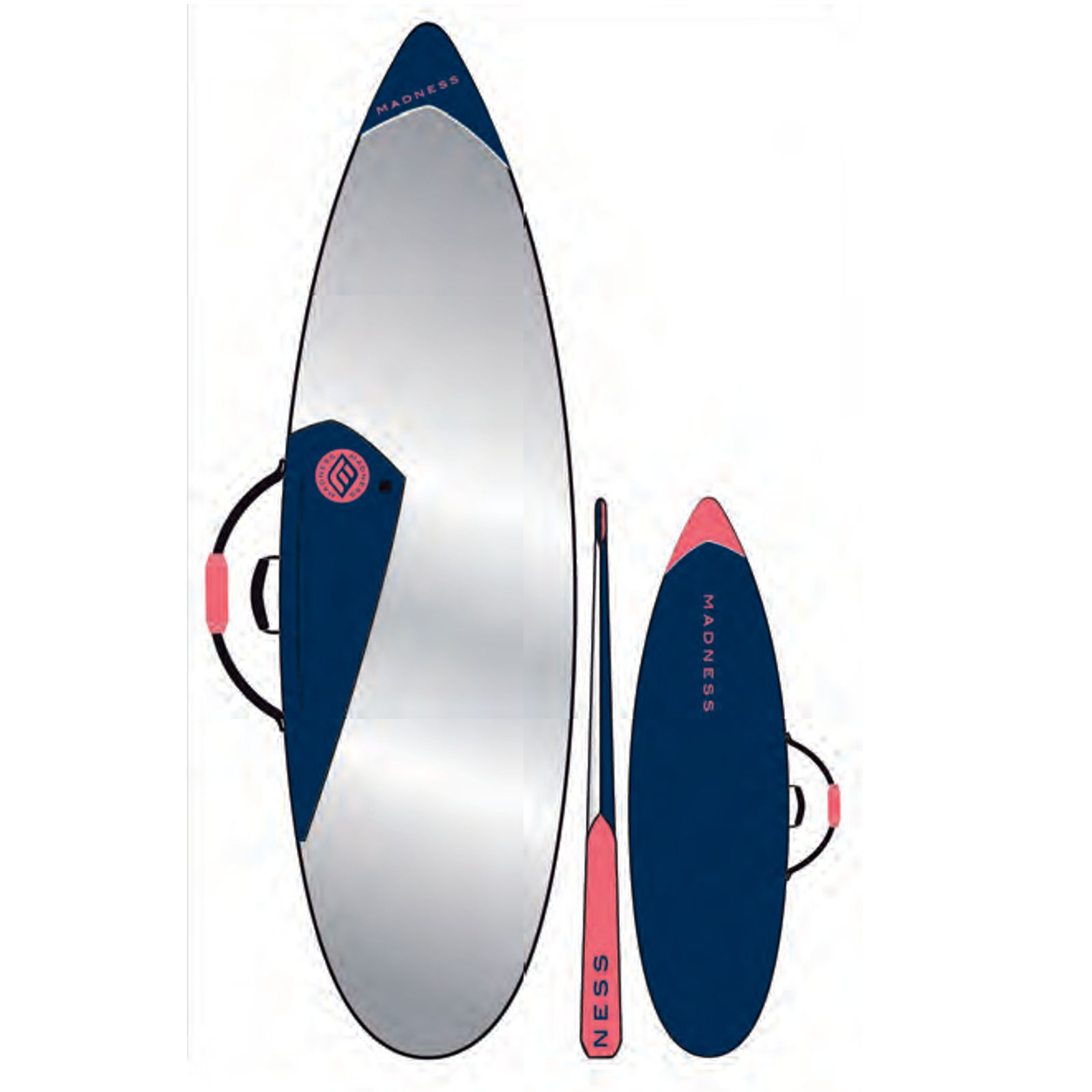MADNESS Boardbag PE 6.4 Shortboard Blau Rot