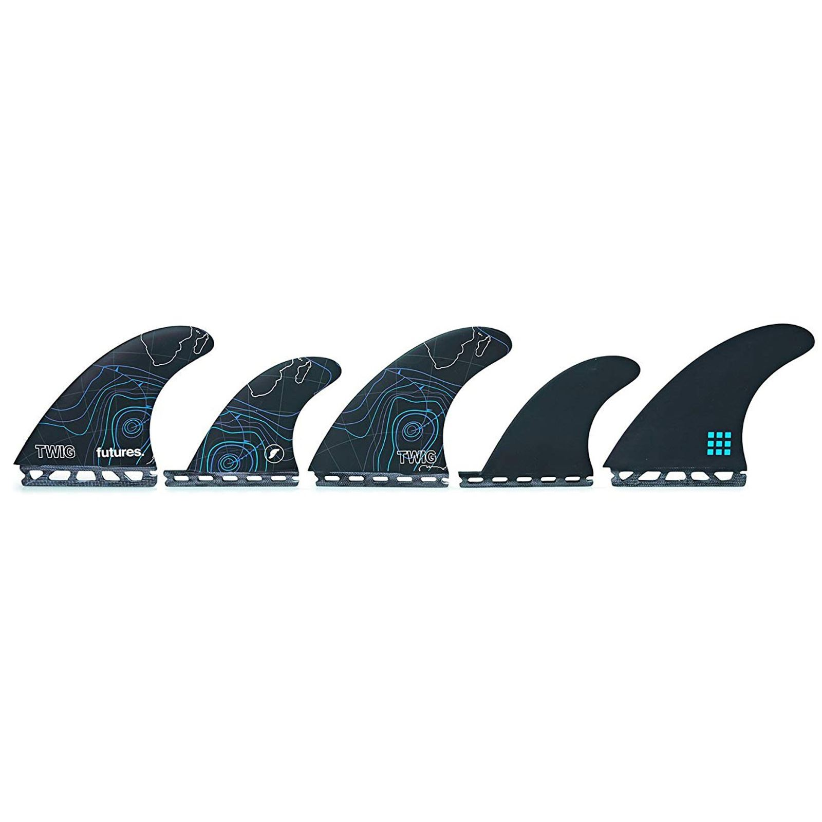 FUTURES Quad Thruster 5 Fin Set Twiggy Fiberglass