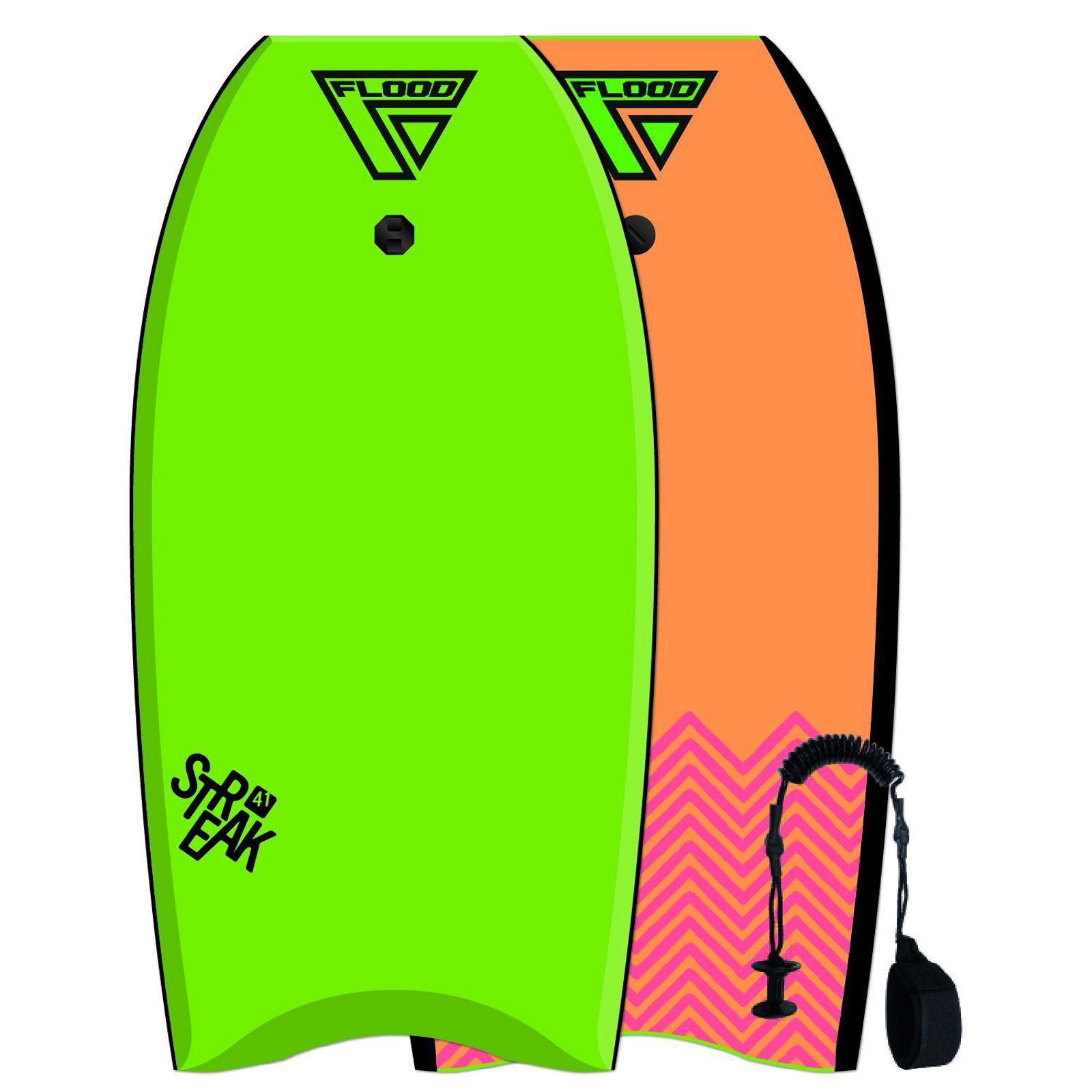 FLOOD Bodyboard Streak 41 Lime Orange Chevron