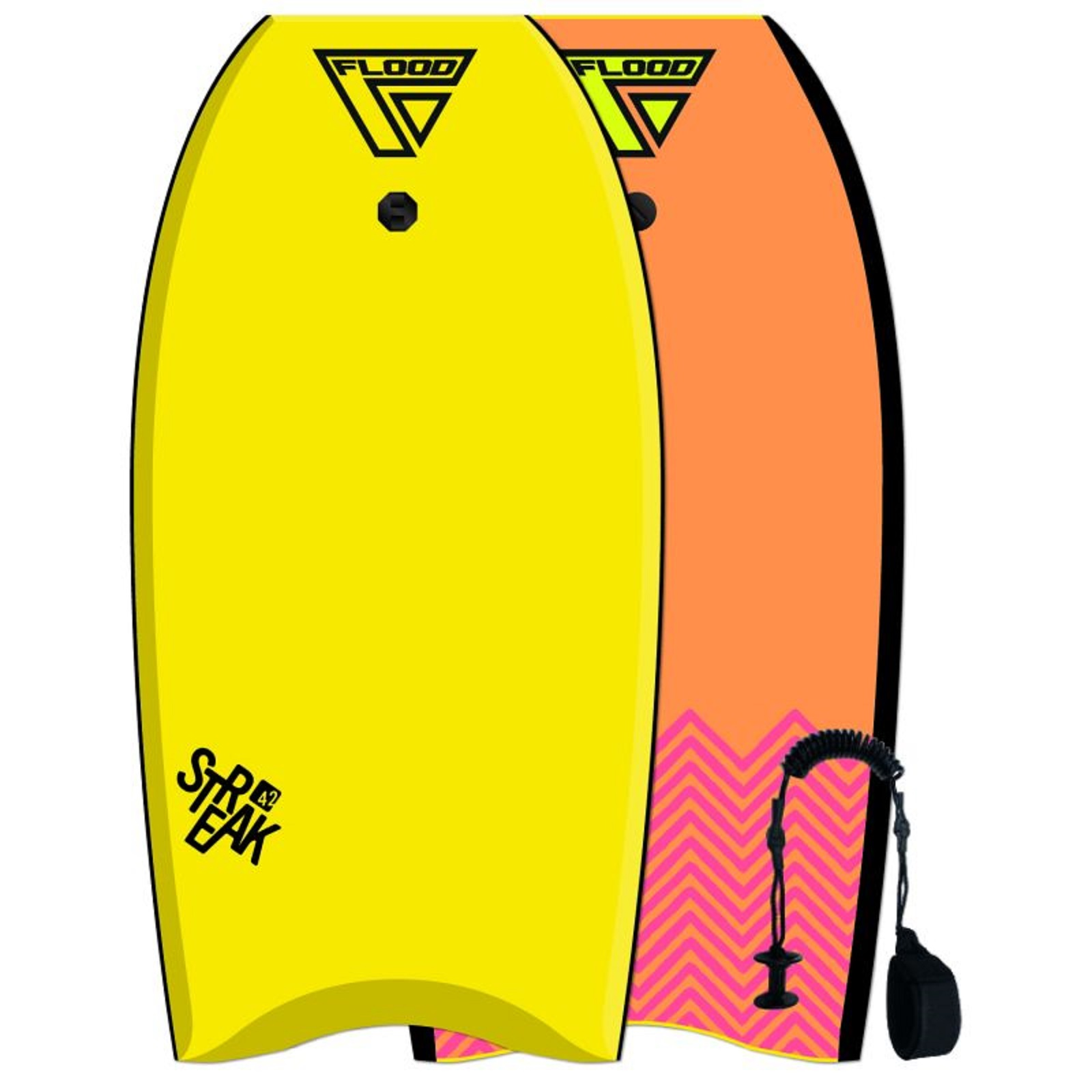 FLOOD Bodyboard Streak 42 Yellow Orange Chevron