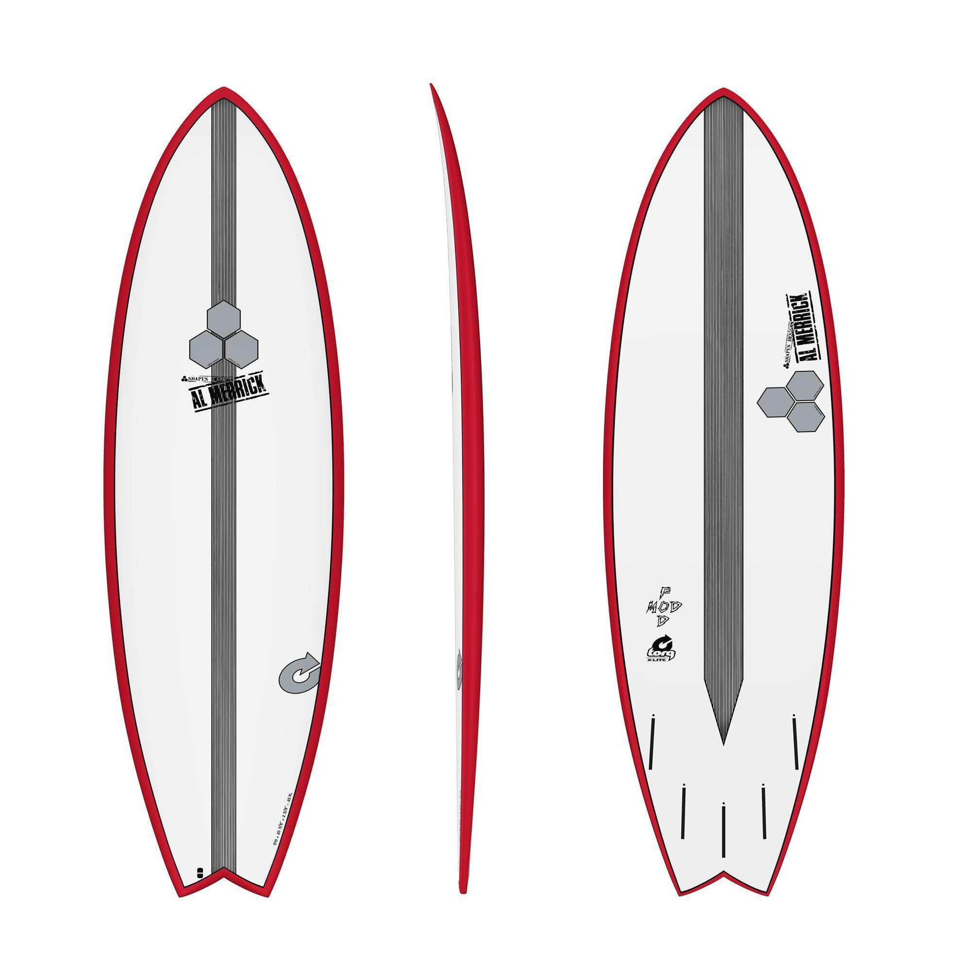 Surfboard CHANNEL ISLANDS X-lite Pod Mod 5.10 Rot