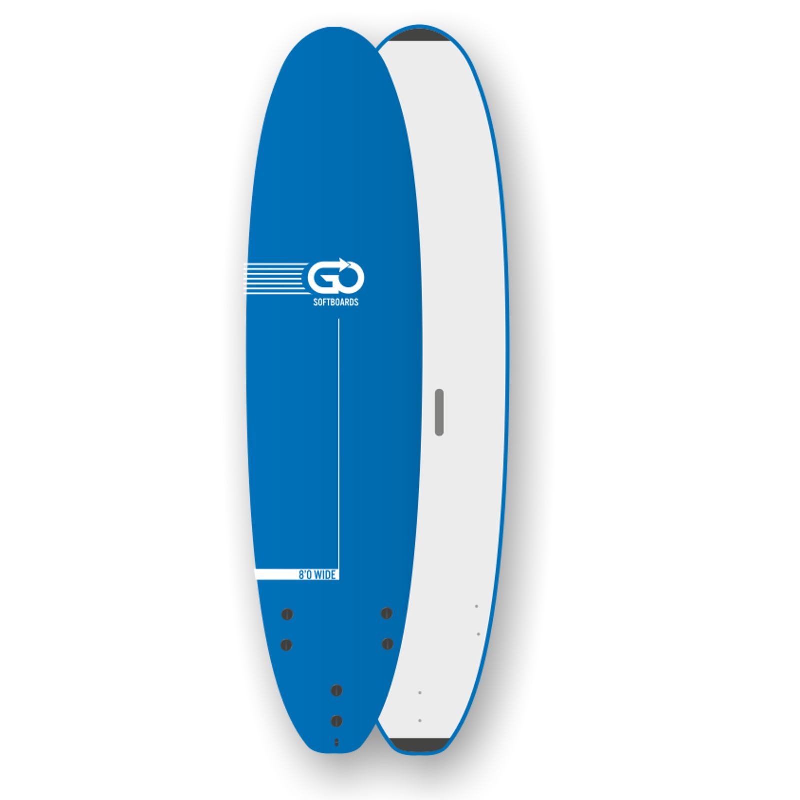 GO Softboard School Surfboard 8.0 wide body Blau