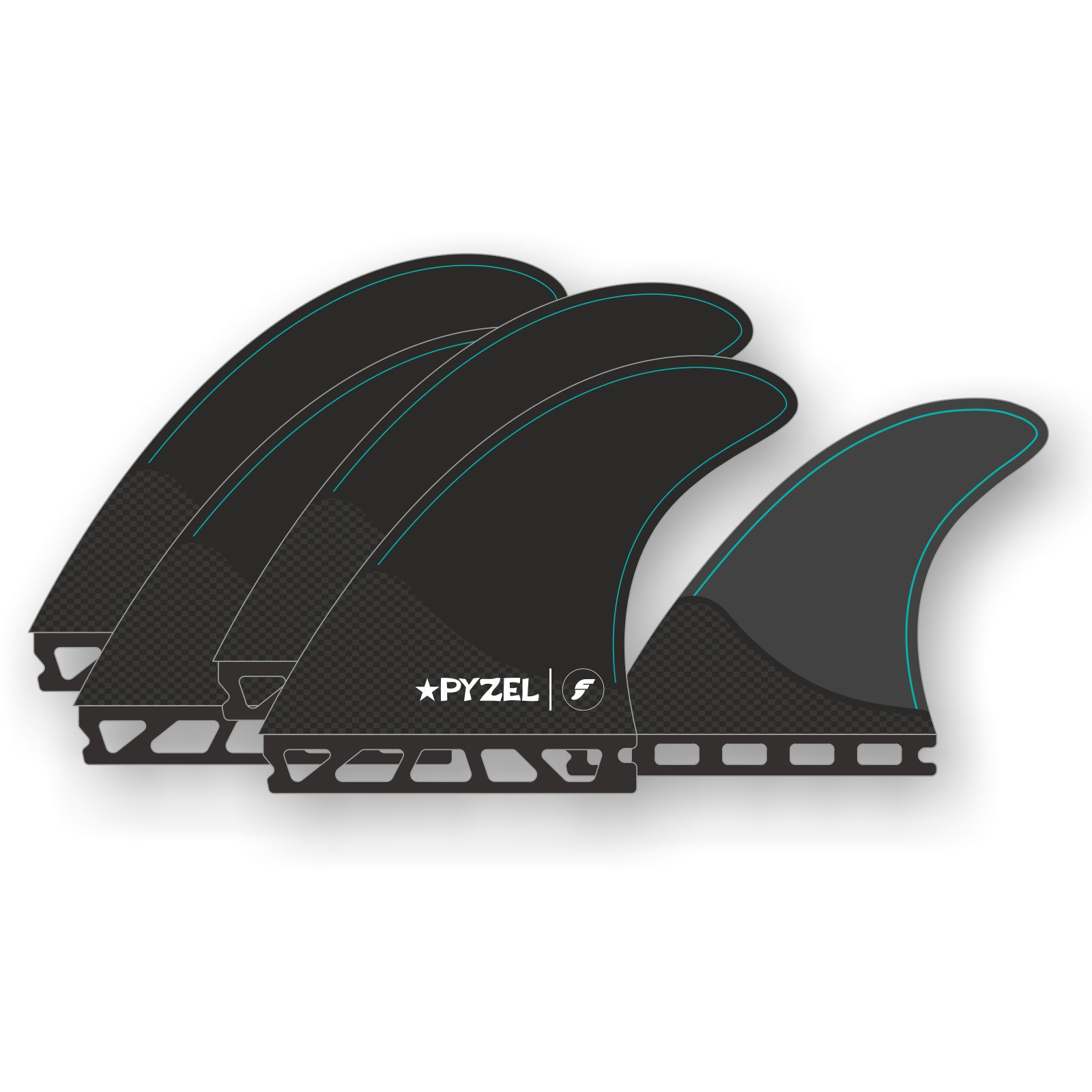 FUTURES Quad Thruster 5 Fin Set PYZEL M Honeycomb NEW March 2020
