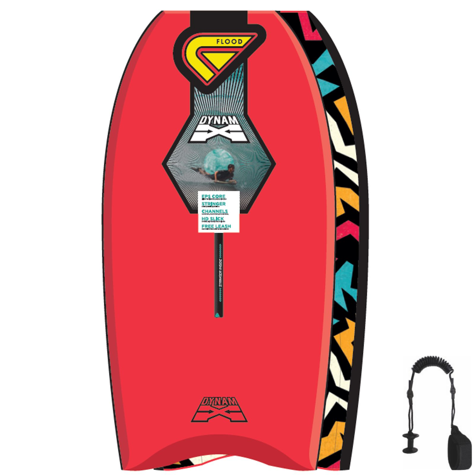 FLOOD Bodyboard Dynamx Stringer 42 Rot Tribal