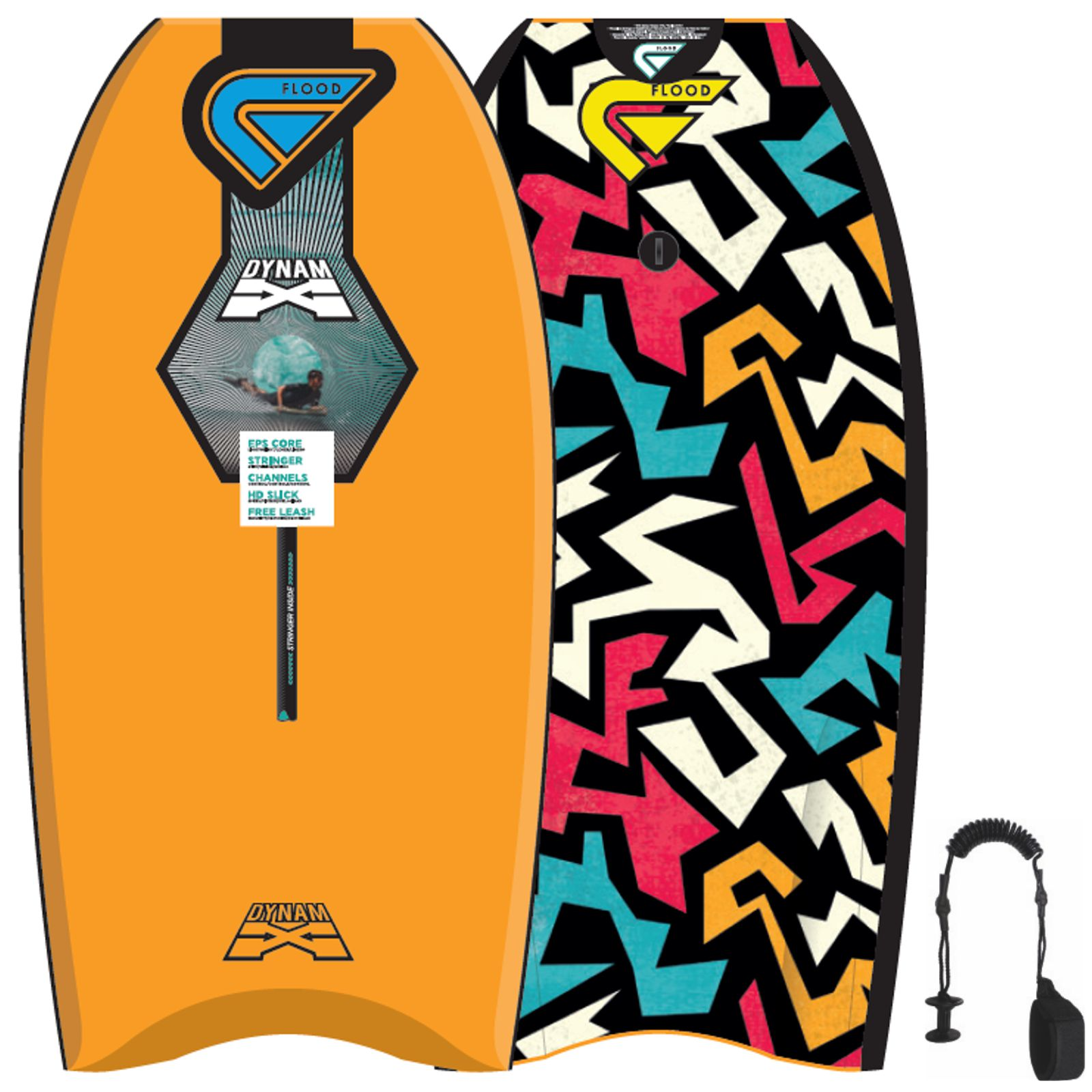 FLOOD Bodyboard Dynamx Stringer 42 Orange Tribal
