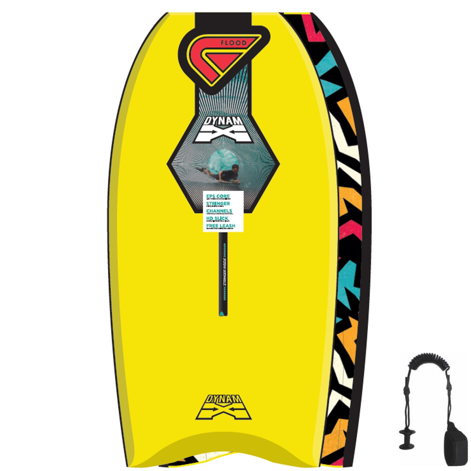 FLOOD Bodyboard Dynamx Stringer 44 Gelb Tribal