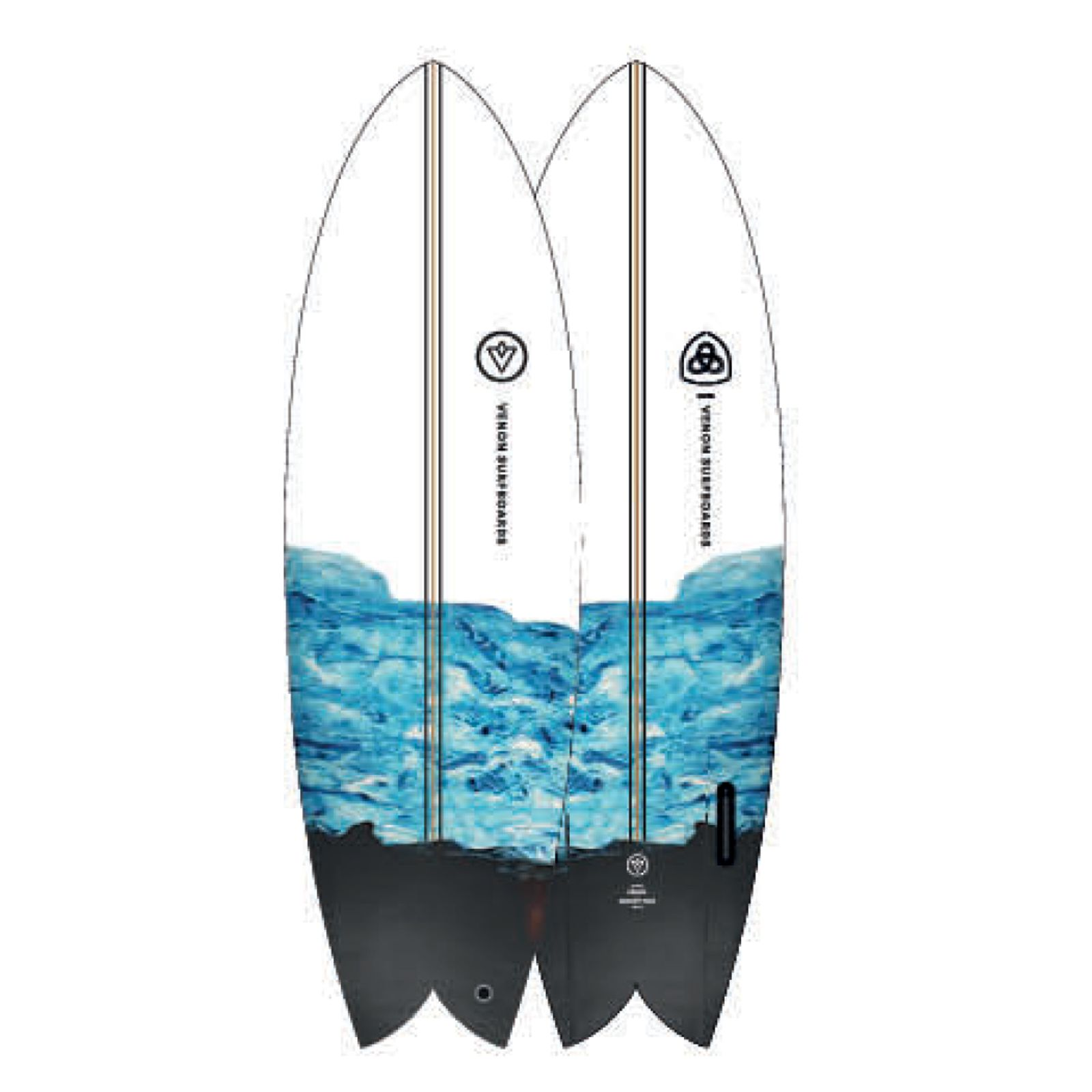 Surfboard VENON Node 5.9 Twinfin Retro Fish marble