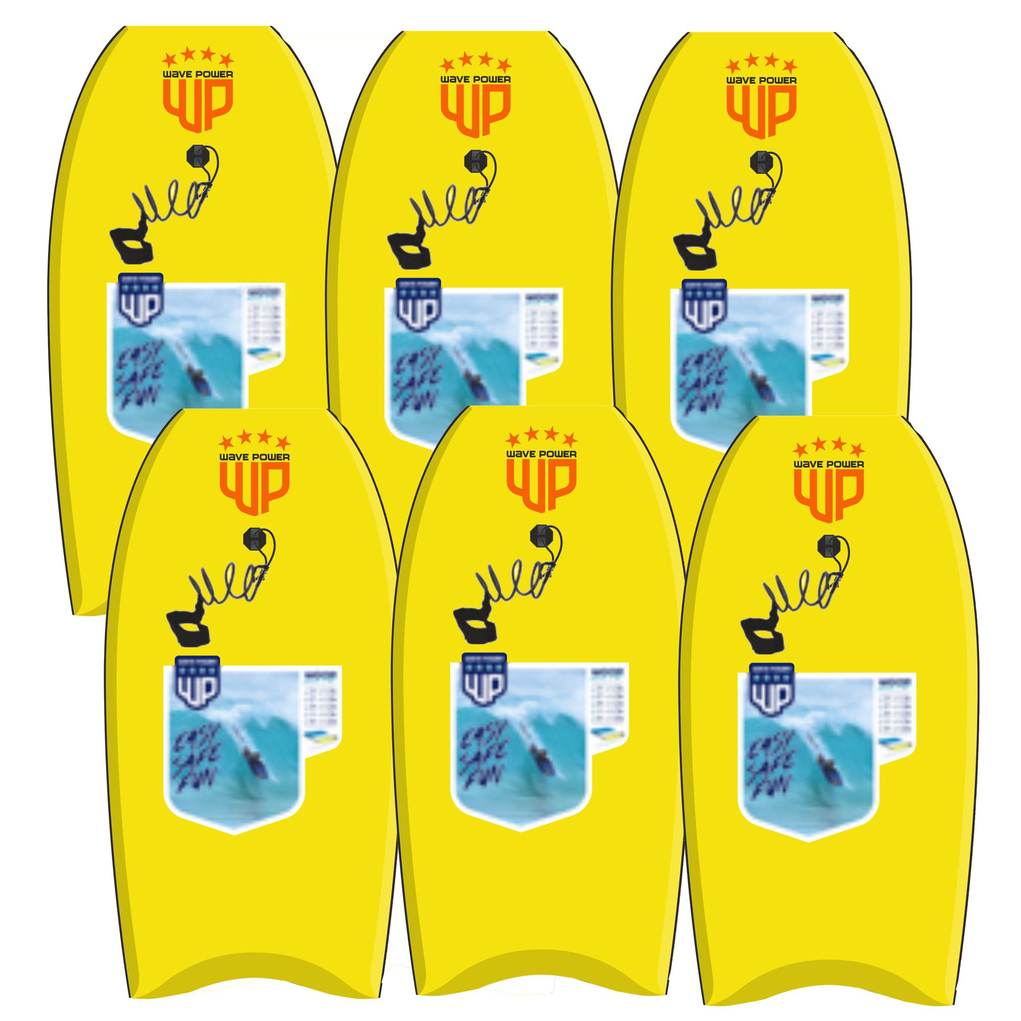 6x Wave Power Bodyboard Woop 42 Gelb Orange